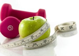 programa dieta, salud y ejercicio manzana y pesas